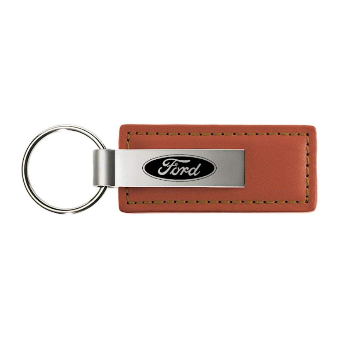Ford Brown Leather Key Fob Authentic Logo Key Chain Key Ring Keychain Lanyard