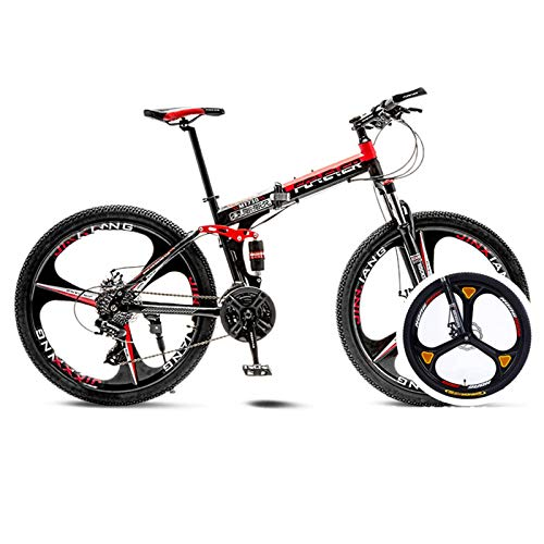 Folding Mountain Bike,24 Inch Folding Bike for Men & Women,Dual Disc Brakes,Full Suspension,3 Spoke MTB,for Outdoor…