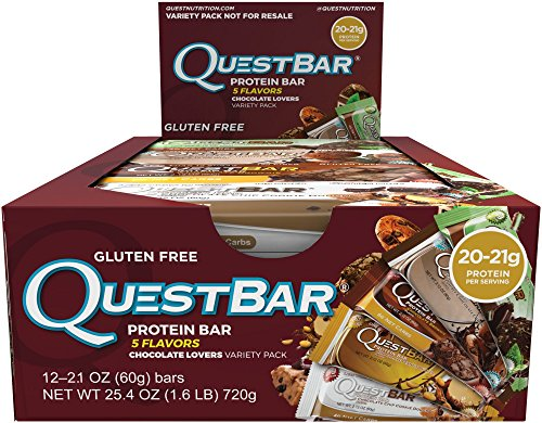 Quest Nutrition Protein Bar, Chocolate Lovers Variety Pack, 5 Flavors, 20-21g Protein, 4-6g Net Carbs, 170-190 Cals, Low Carb, Gluten Free, Soy Free, 2.12oz Bar, 12 Count (Lovers Pack)