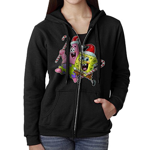 Womens Spongebob And Patrick Christmas Cotton Black Full Zip Hoodie With -