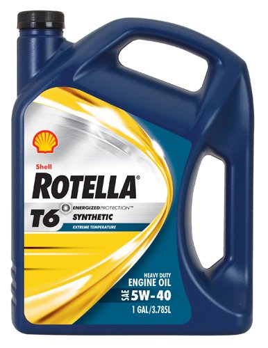 Shell Rotella T6 Full Synthetic Heavy Duty Engine Oil 5W-40, 1 Gallon, Pack of 3