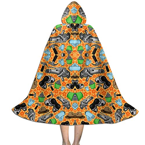 Dr Horrible Halloween Costumes (Doctor Horrible's Sing Along Fabric 5593(5054) Kids Hooded Cloak Cape for Christmas Halloween Cosplay)