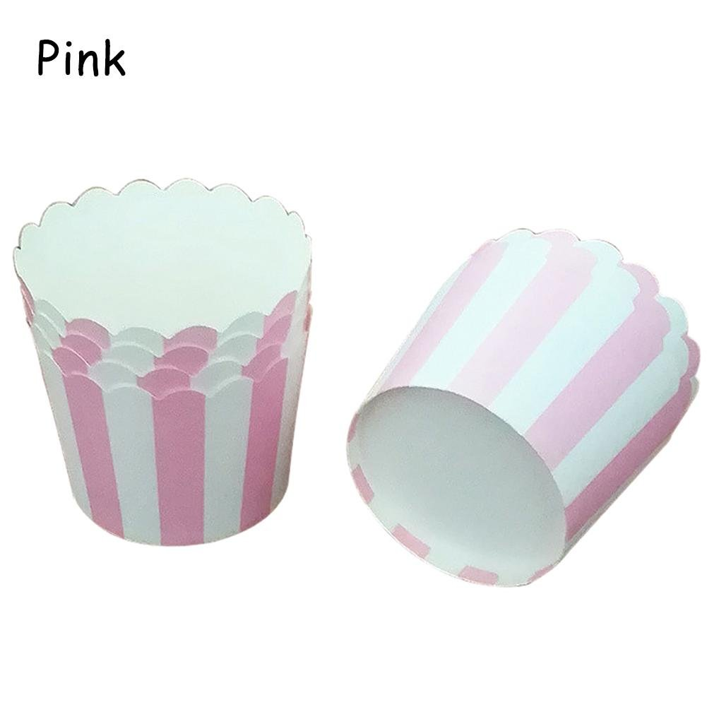 24PCS Baking Paper Cup Mini Cake Box Muffin Cake Paper Cup, Multi-Color Vertical Stripes, Oil-Proof, Non-stick, High Temperature, Suitable For Wedding Birthday Party Su-luoyu