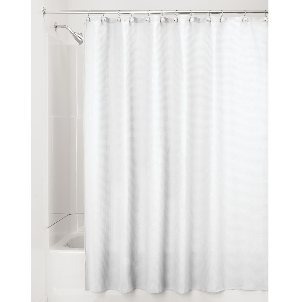 mDesign Narrow Stall Width Hotel Quality Polyester/Cotton Blend Fabric Shower Curtain, Rustproof Metal Grommets - Waffle Weave for Bathroom Showers and Stalls - 54'' x 78'', White