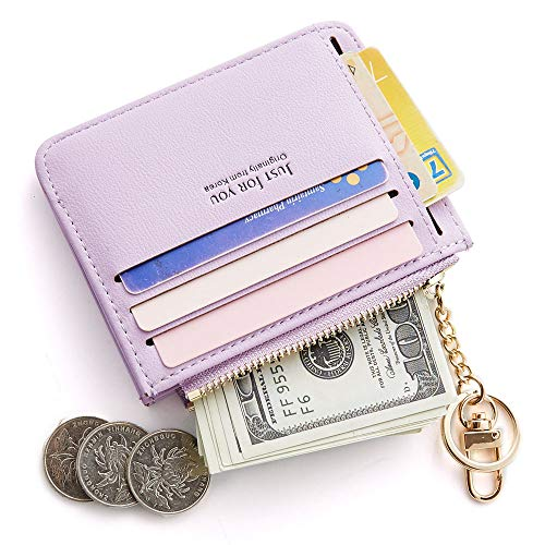 (Cyanb Slim Leather Credit Card Case Holder Front Pocket Wallet Change Purse for Women Girls with keychain Purple)