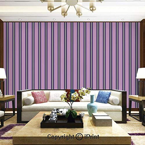 (Lionpapa_mural Nature Wall Photo Decoration Removable & Reusable Wallpaper,Pale Colored Stripes with Vertical Borders Ornate Line Art Illustration Decorative,Home Decor - 66x96 inches)