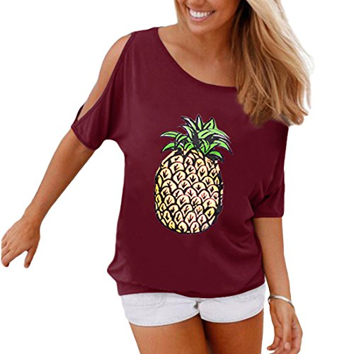 Weigou Summer Woman T Shirt Off Shoulder Casual Short Sleeve T-Shirt Hollow Out Sleeve Blouse Pineapple Printed Lady Tops (XL, Wine - Pineapple Shirt T
