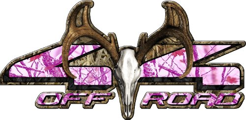 4x4-Buck-Skull-Pink-Snowstorm-Camo-Set-of-Two-7-Inches-By-15-Inches-Decals