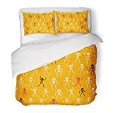Emvency Decor Duvet Cover Set Twin Size Arm of Funny Skeletons on Yellow Orange Body Bone Cartoon Character Dance Death Foot 3 Piece Brushed Microfiber Fabric Print Bedding Set Cover