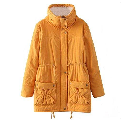 Hyhan Warm Da Collare Fashion Donna Cotone Cappotto Pelliccia Lungo nbsp;colori Invernale Nuovo Keep 5 Spessa Girls Jacket Yellow rXSqxr