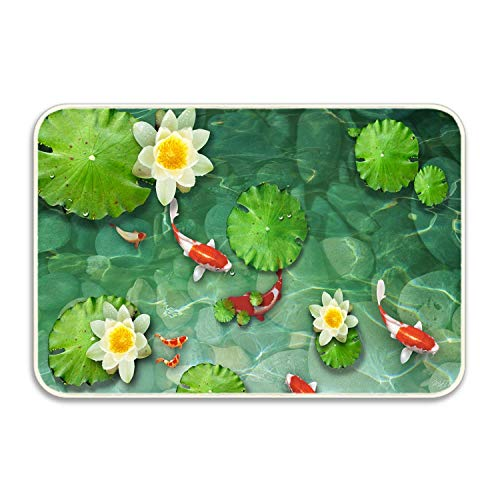 (CustYANGLIU Koi Pond Water Lily Pads Fish Garden Outdoor Indoor Area Rag Rug, Machine Washable, Rubber Back Unique for Bedroom, Living Room, Kitchen, Nursery and More, 24 x 16)