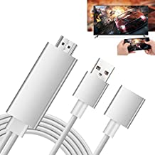 Iphone to HDMI Adapter HD Mirroring Cable for iPhone Samsung Smartphones iPad to Mirror on HD TV or Projector - Plug and Play