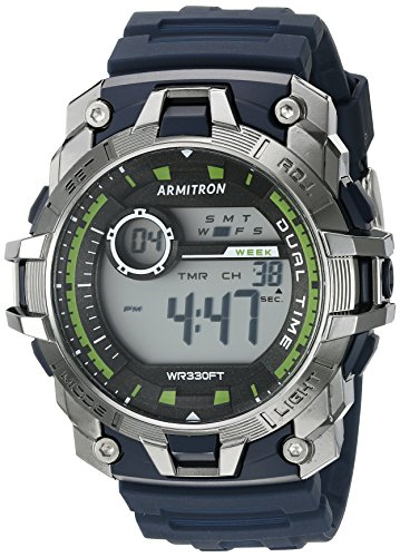 Armitron Sport Men's 40/8374NVY Green Accented Digital Chronograph Navy Blue Resin Strap Watch