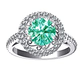 RINGJEWEL 3.60 ct VVS1 Round Moissanite Solitaire Engagement Silver Plated Ring Blue Green Color Size 7