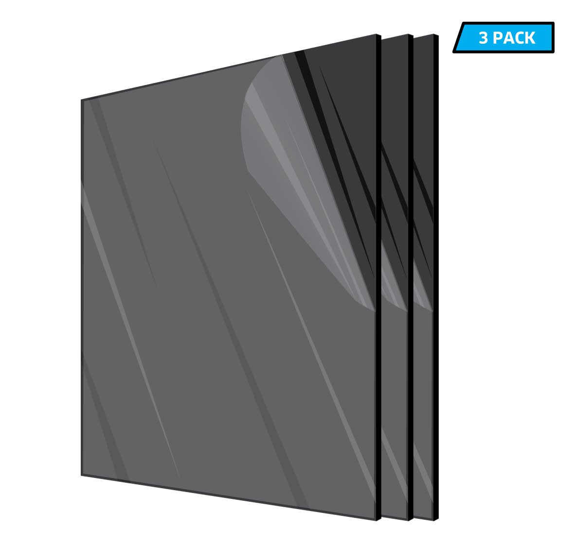 AdirOffice Acrylic Plexiglass Sheet - Durable, Water Resistant & Weatherproof - Multipurpose & Ideal For Countless Uses 12''x12'' 1/8th thick - 3 Pack, Black