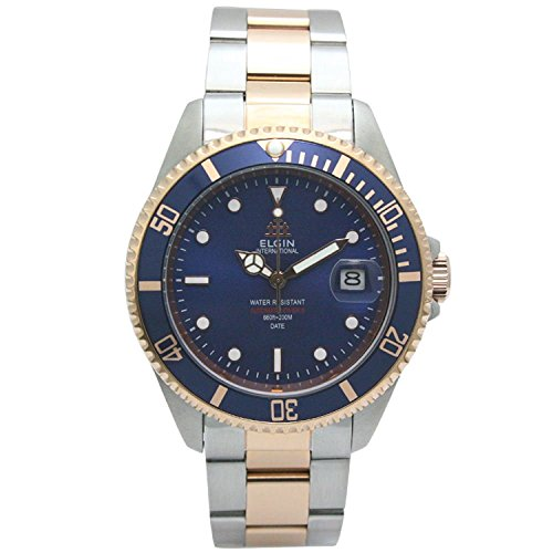 Elgin Bezel Watch (ELGIN Watch 200M waterproof Automatic Movement made in Japan rotating bezel All stainless Blue ~ combination FK1405PS-BL Men's)