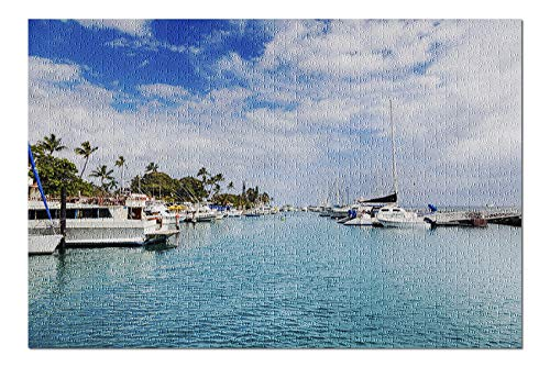 Lahaina, West Maui, Hawaii - Boats in Harbor - Photography A-96070 96070 (20x30 Premium 1000 Piece Jigsaw Puzzle, Made in USA!) ()