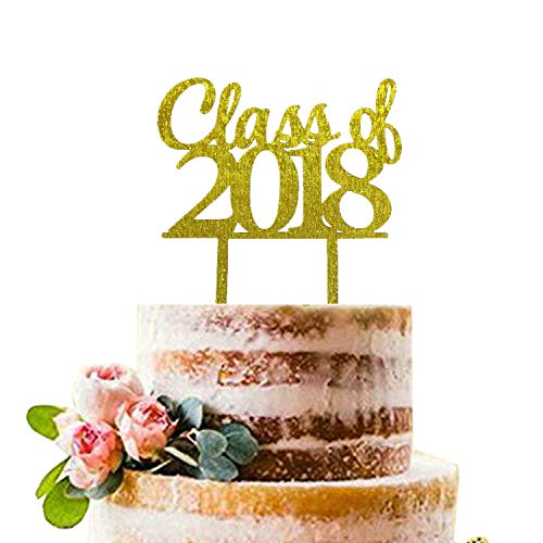 Gold Class of 2018 Cake Topper | Graduation Cake Toppers 2018 | Graduation Cake Decorations | Graduation Party -