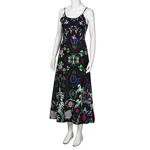 Vestidos Mujer Verano 2018 Bohemio Vestido Largo Sling de Estampado Floral Elegante Vestido de Playa Casual Estampado Floral Vestir Ropa Sexy Vestidos de Camisa Túnica Negro