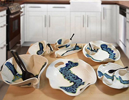 Aurora Collection 2-Piece Handmade Pottery Hors d'oeuvre Appetizer Serving Dish Set in Blue White by Hilborn Pottery (Image #4)