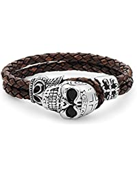 "TARA Legacy ""Leather Collection"" ""Chosen"" Skull Steel Dark Brown Braided Leather Bracelet"