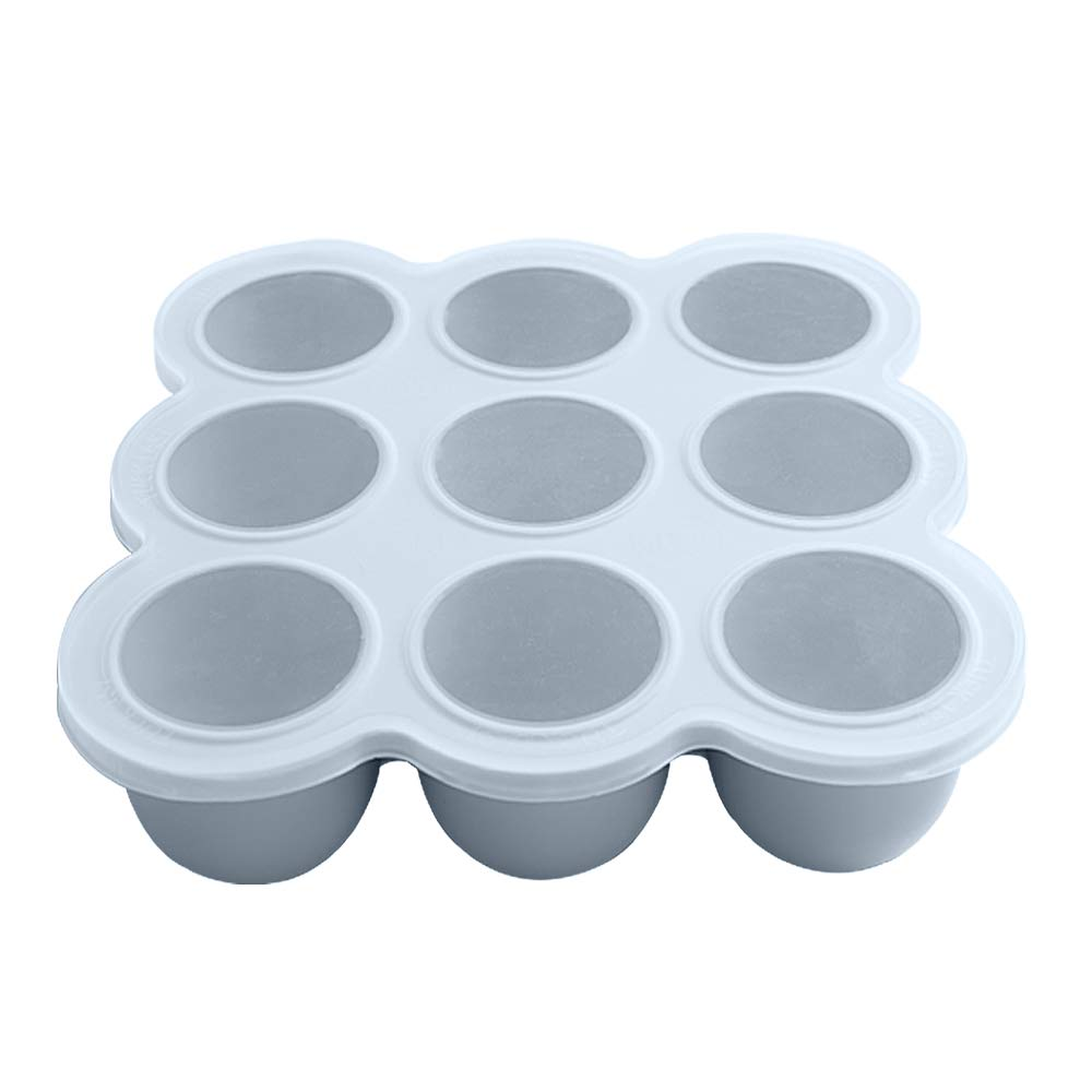 KingKam Baby Food Storage Container - Silicone Freezer Tray with Clip-on Lid - Oven & Dishwasher Safe- 9x2.5oz Easy-Out Portions, 100% Food Grade Safe