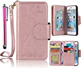 J7 Case, Samsung Galaxy J7 2015 Case, Bonice Luxury Dual Wallet Case [9 Cards Holder] Premium PU Leather Embossing Girl Flower Pattern Magnetic Flip Stand Phone Cover + Metal Stylus Pen - Rose Gold