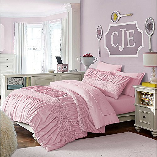 5 Piece Girls Pink Solid Ruched Striped Pattern Comforter Twin Set, Beautiful Stylish Decorative Pinch Pleated Design, Boho Chic Geometric Floral Stripe-Inspired Theme, Soft Pastel Color, For - Color Stripes Pastel