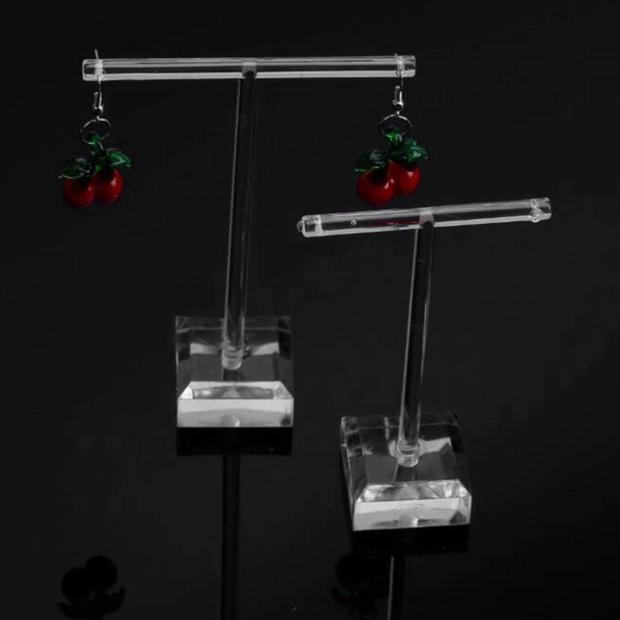 2pcs//Set Clear Plastic Earrings Showcase Display T Bar Stand Holder Organizer