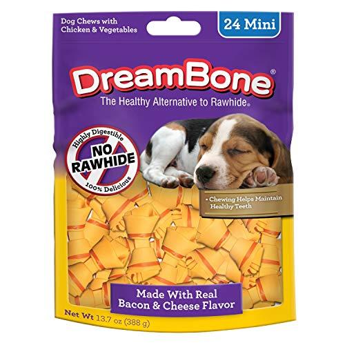(Dreambone Bacon & Cheese Mini Bone Dog Chews, Rawhide Free Dog Treats, 24-Count (Dbbac-02874))