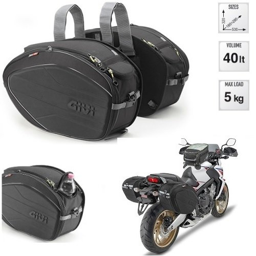 Pair of GIVI EA100B side bags 40LT EASY-T line for motorcycle scooter universal black