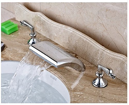 Gowe Chrome Finished Deck Mounted Waterfall Spout Bathroom Sink Faucet Widespread 3pcs Mixer Tap 4