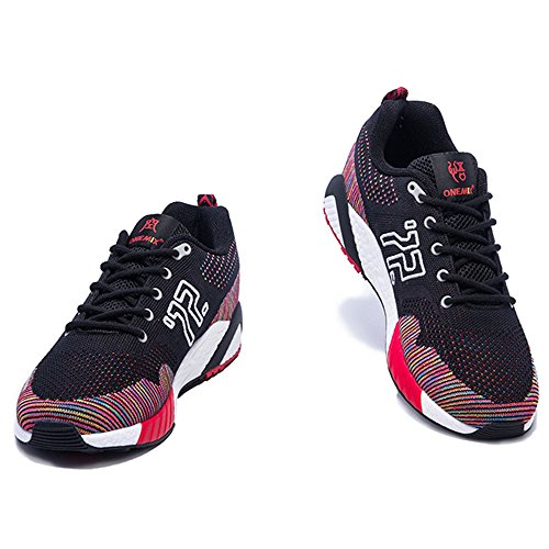 ONEMIX Mens Womens Breathable Knit Mesh Outdoor Sport Running Shoes Black/Red R7TMN