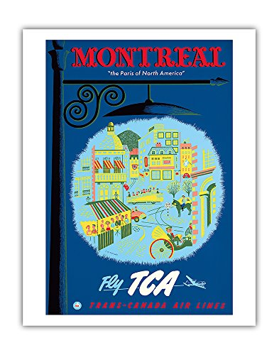 (Pacifica Island Art Montreal - The Paris of North America - Fly TCA (Trans-Canada Air Lines) - Vintage Airline Travel Poster by Jacques Le Flaguais c.1952 - Fine Art Print - 11in x 14in)