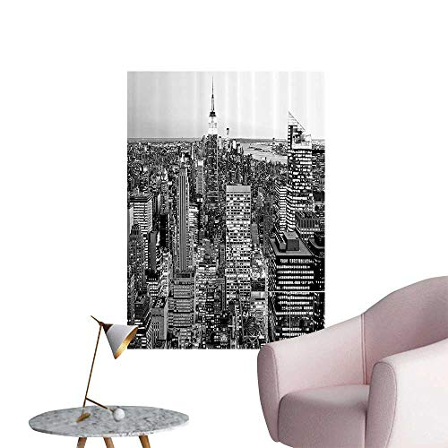 Wall Stickers for Living Room anorama of Manhattan High Buildings of City mous Mument USA Black and White Vinyl Wall Stickers Print,32