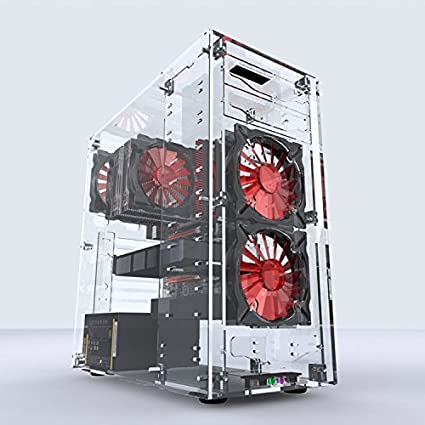 Geeek Clear acrylic ATX/MATX/ITX Computer case For Water Cooling Liquid  Cooler System + 3pcs LED Cooling Fan