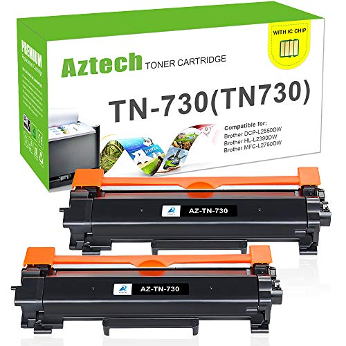Aztech 2PK Compatible for Brother TN730 TN-730 TN760 HL-l2350dw HLL2395DW Toner Cartridge for Brother HL-l2395dw MFC l2710dw DCP l2550dw MFC-l2750dw HL-l2390dw HLl2370dw Ink Printer-with Chip