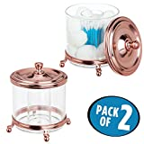 mDesign Divided Bathroom Vanity Storage Organizer Canister Jars for Q-tips, Cotton Balls, Swabs, Rounds, Makeup Pads, Bath Salts - Pack of 2, Clear/Rose Gold