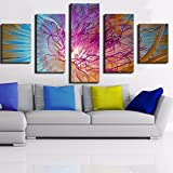 [LARGE] Premium Quality Canvas Printed Wall Art Poster 5 Pieces / 5 Pannel Wall Decor Abstract Fairy Flower Painting, Home Decor Pictures - With Wooden Frame
