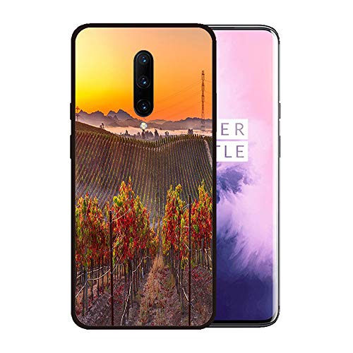 (Case for OnePlus 7 pro,Silicone Cover and Tempered Glass 2 Materials,Non-Slip, Anti-Drop, Anti-Scratch,Depict- Early Morning Vieyard in Napa Valley California)