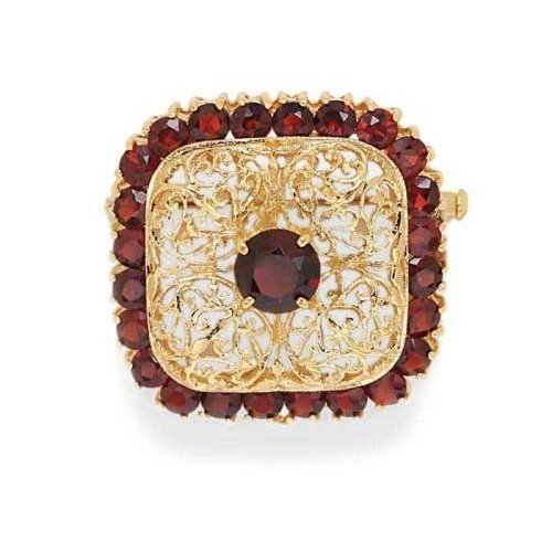 Gioie Broche Femme en Or 14 carats Jaune avec Grenat, 10 Grammes