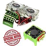 Powerhobby Traxxas Slash 4x4 Motor Cooling Fan/HeatSink Dual Twin Fan + Velineon VXL-3s ESC Cooling Fan Combo