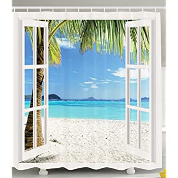 Ambesonne Ocean Shower Curtain Decor By Tropical Palm Trees On An Island Beach Through White