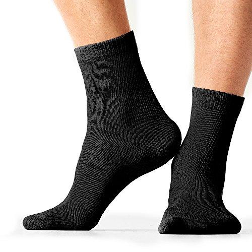 Eco Hemp Walking Socks Organic Moisture Wicking Dress Socks - Black(1 Pair) Size Large ()