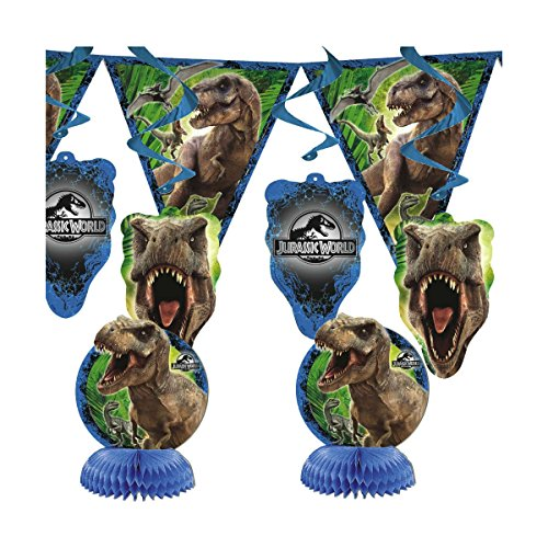 7 Piece Jurassic World Dinosaur Park Birthday Party Room Decoration Kit -