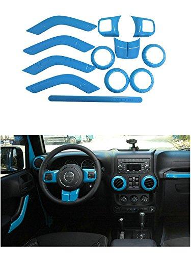 Opall Full Set Interior Decoration Trim Kit Steering Wheel & Center Console Air Outlet Trim, Door Handle Cover Inner, Passenger Seat Handle Trim For Jeep Wrangler 11-17 4door light bule 12Pcs