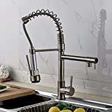 Rozinsanitary Luxury Brushed Nickel Kitchen Faucet Swivel Spout Pull Mounted Sprayer Mixer Tap