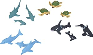 Wild Republic Aquatic Family Animal Figurines Tube, Ocean Toys, Shark, Dolphin, Sea Turtle, Orca, Sea Life Families Collection