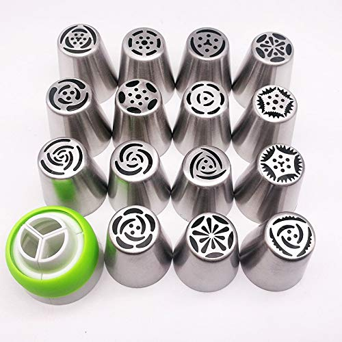 Cake Piping Tips Russian Cake Nozzles Icing Tips Pastry Bag For Cake Cupcake Decorating Supplies Set (30 PCS) by Monster* (Image #2)