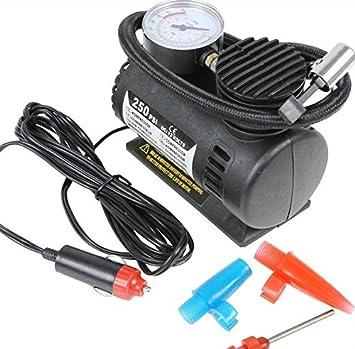 Mini Compresor de Aire Mechero Coche 12 V Manometro para Rueda Balón Bici Moto: Amazon.es: Coche y moto